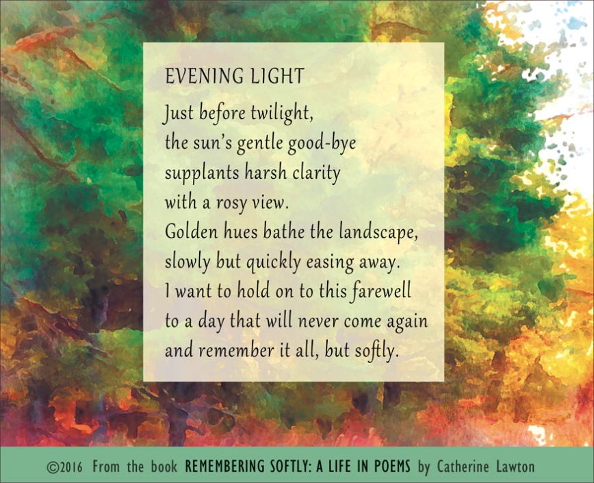 """Evening Light"" poem by Catherine Lawton"